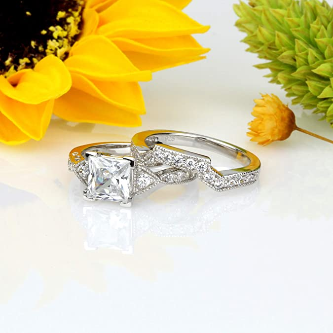 0.23 Cts Cubic Zirconia  Sterling Silver 925 Ring  Rhodium plated Nickel-Free  MadDuckJewels RG1531