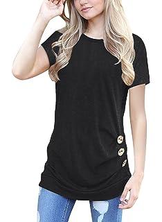 1cc238bafe4 MOLERANI Women s Casual Short Sleeve Round Neck Loose Tunic T Shirt Blouse  Tops