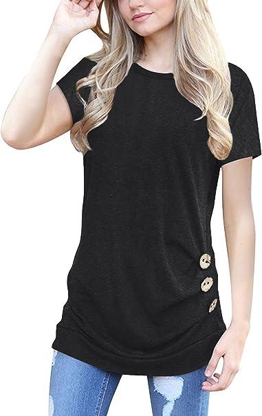 Amazon.com: MOLERANI blusa de manga corta para mujer, cuello ...