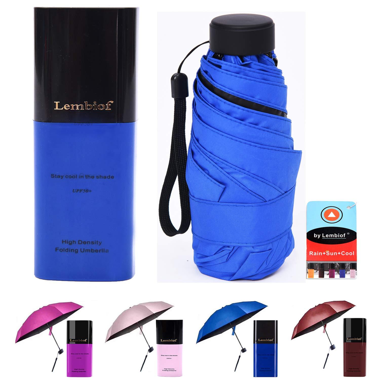 Lembiof Compact Travel Umbrella Waterproof Case, 6 Ultra Strong Ribs Finest 99% UV Protection Outdoor Umbrella Women Men(DarkBlue)