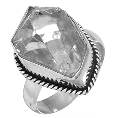 Natural Copper Calcite Ring Solid 925 Sterling Silver Latest Jewelry Size 6