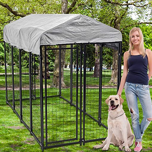 Dkeli Large Dog Kennel Dog Crate Cage, Extra Large Welded Wire Pet Playpen with UV Protection Waterproof Cover and Roof Outdoor Heavy Duty Galvanized Metal Animal Pet Enclosure for Outside