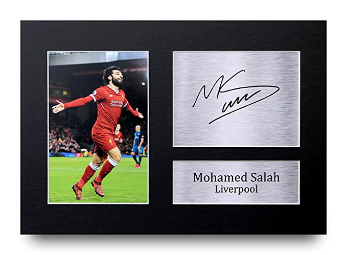 finest selection dcc61 df5d1 HWC Trading Mohamed Mo Salah Gifts Signed A4 Printed Autograph Liverpool  Gift Print Photo Picture Display