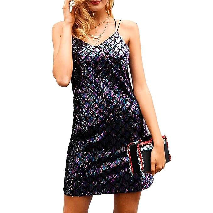 4b77535c25 Novia s Choice Women Shiny Sequin Spaghetti Strap V Neck Skirt Glitter Sexy  Backless Party Mini Dress