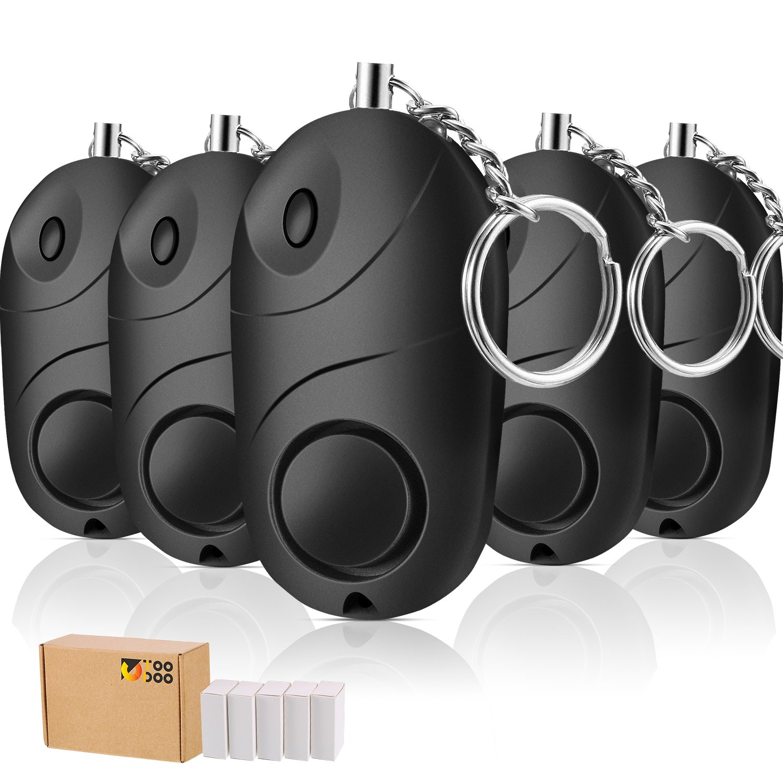 TOODOO 5 Pack Safesound Personal Alarm, 130 db Emergency Safety Key Chain, Self-Defense Security Safe Sound Alarm Mini LED Flashlight Kids, Women, ...