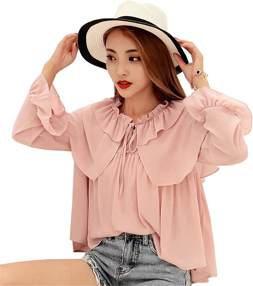 COCO clothing Camisa Mujer Manga Larga Cómodo Camisas Volantes Bonitos Ocio Color Puro Flojo Blusas Primavera Verano (Rosa, m): Amazon.es: Ropa y accesorios
