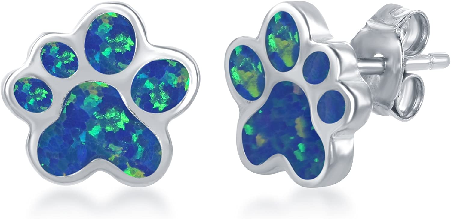 Sterling Silver/Rose Gold High Polish Created Blue or Pink Opal Paw Print Stud Earrings