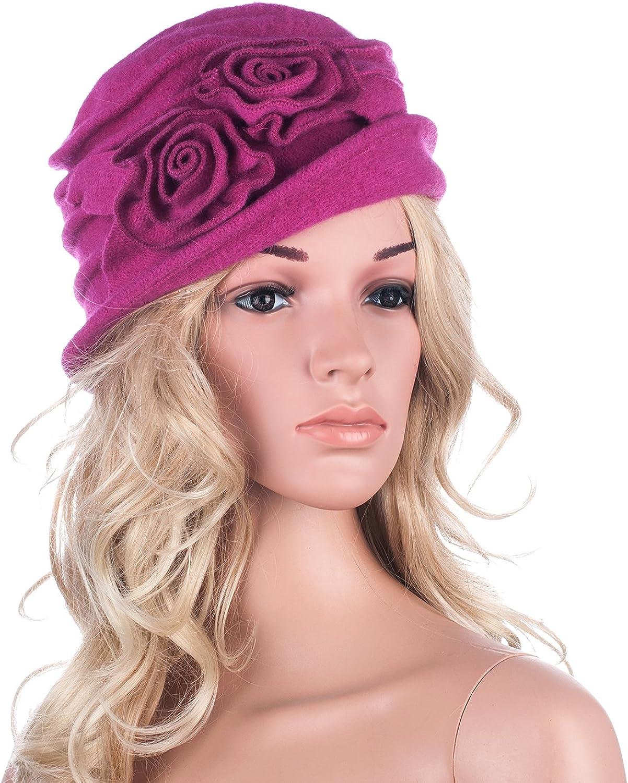 Lawliet Cappello cloche da donna vintage elegante e caldo berretto per l/'inverno