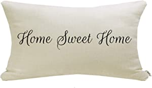 "Meekio Farmhouse Pillow Covers with Home Sweet Home Quote 12"" x 20"" Lumbar Pillow Covers for Farmhouse Decor"