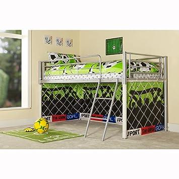 Kids Football Goal Metal Mid Sleeper Boys Cabin Bunk Bed Tent