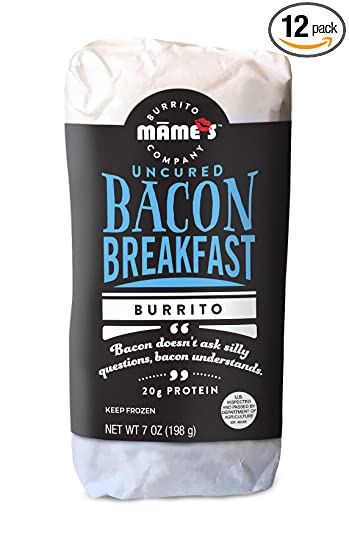 Mame's Burrito Company Bacon Breakfast Burrito, 7 Ounce (Pack of 12)