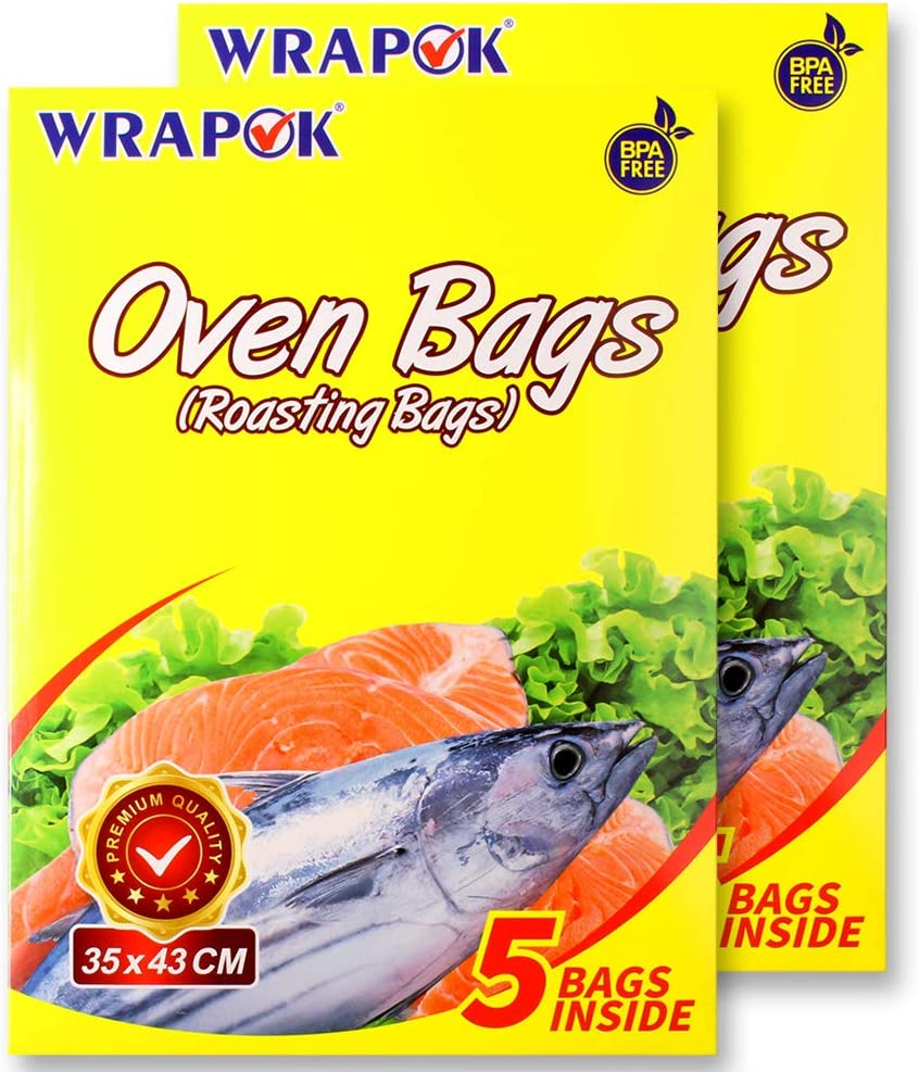WRAPOK Oven Cooking Turkey Bags Medium Size Ribs Baking Roasting Bags No Mess For Chicken Meat Ham Poultry Fish Seafood Vegetable - 10 Bags (14 x 17 Inch)