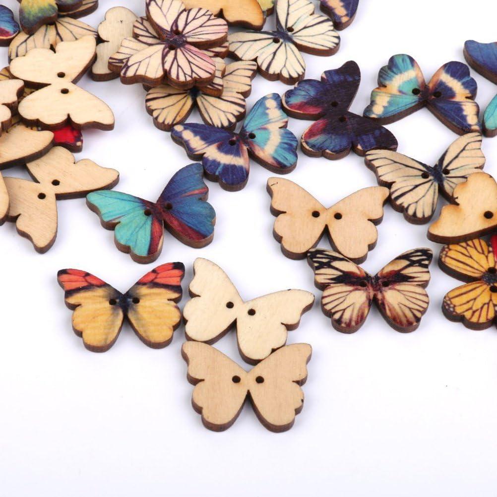 TENDYCOCO 100pcs pulsanti per cucire 2 fori farfalla mista pulsante in legno per cucire Crafting Scrapbooking mestiere fai da te