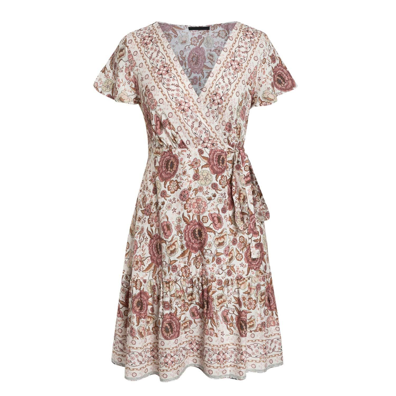 eea8838d7deba meiguiyuan V Neck Floral Print Boho Dress Women High Waist Pleated ...