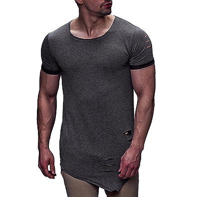 promo code 7b2c6 2f779 Jaminy Herren T-Shirt Sweatshirt Rundhals Ausschnitt Kurzarm Lange Ärmel  Top Basic Shirt Vintage Sweatshirt Mode Persönlichkeit Loch Männer Casual  ...