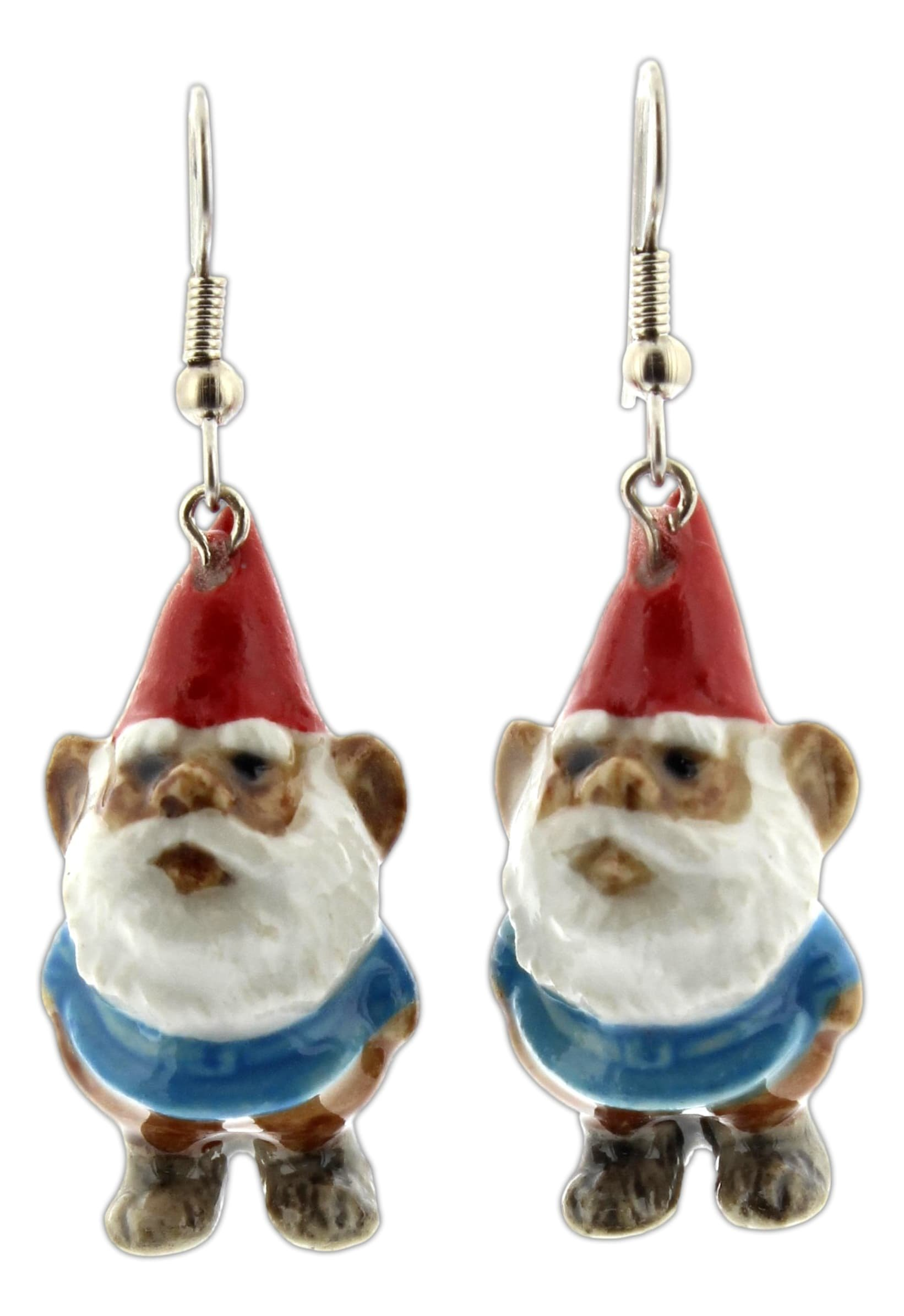 Little Critterz 1.5'' Hand Painted Porcelain Gnome Dangle Earrings on Fish Hook Backs