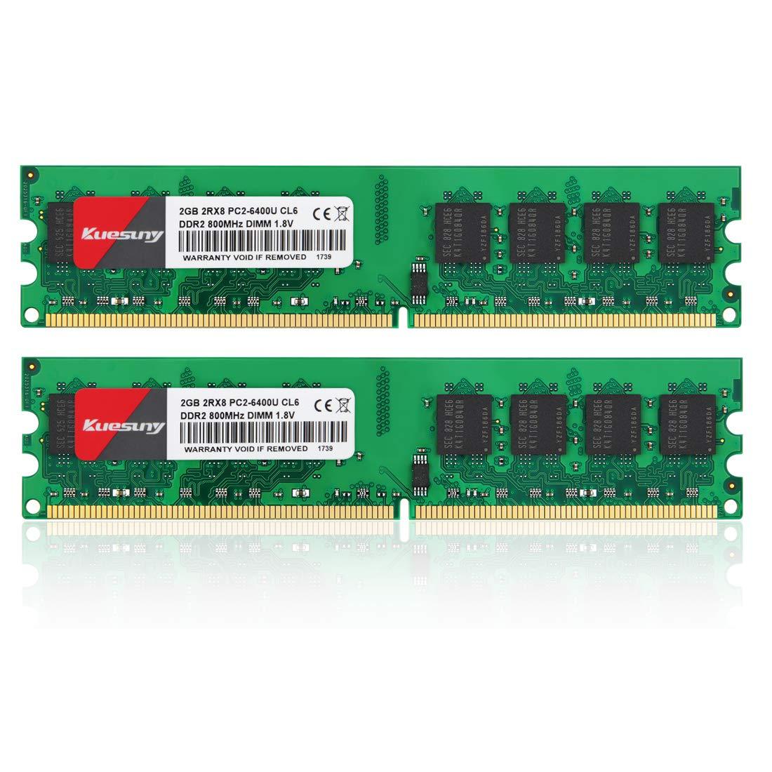 Memoria RAM 4GB Kit (2GBX2) DDR2 800 Udimm Kuesuny PC2-6400/PC2-6400U 1.8V CL6 240 Pin Non-ECC Unbuffered Modules