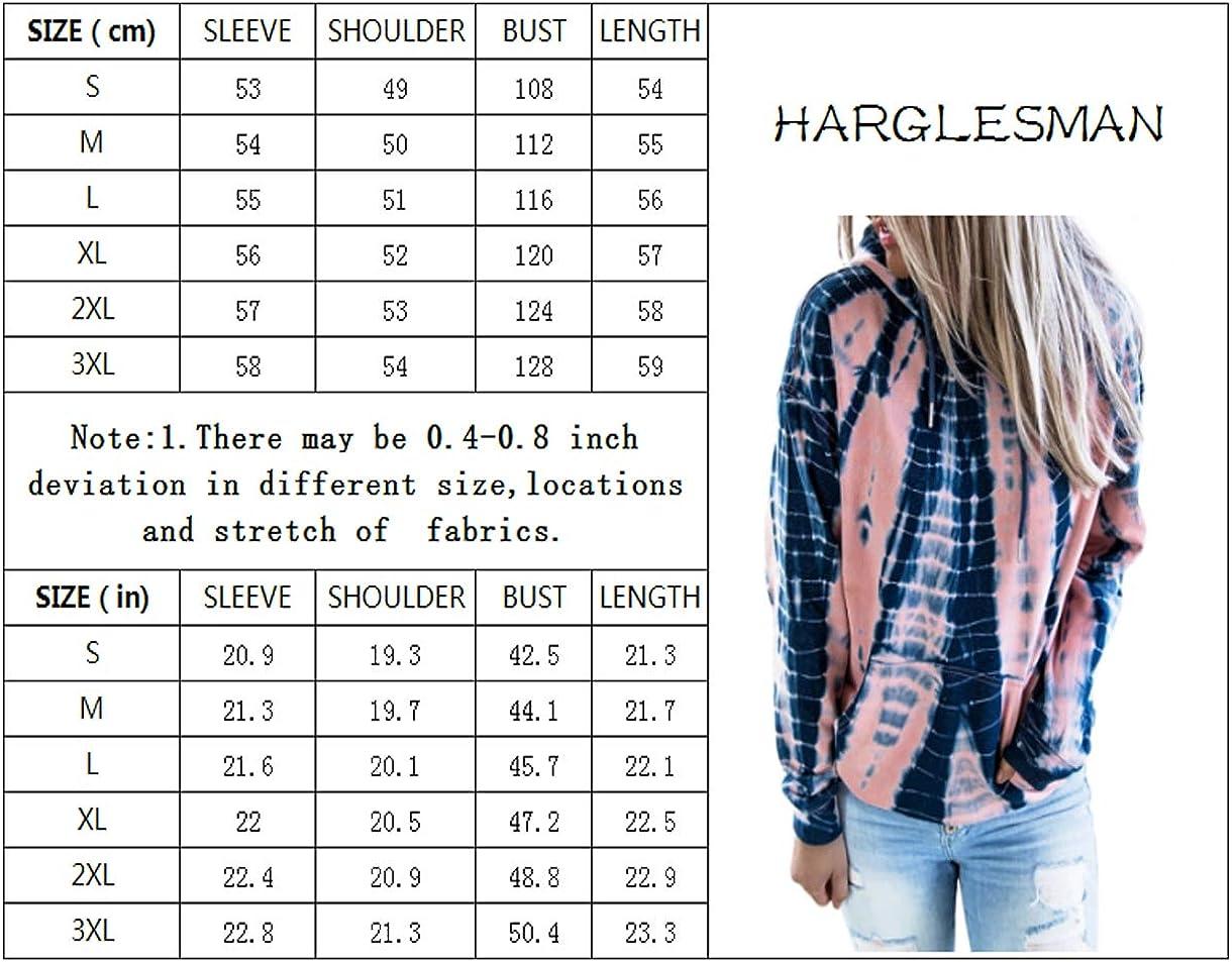 HARGLESMAN Womens Tie Dye Hoodie Sweatshirts Casual Long Sleeve V Neck Loose Fit Pullover Hooded Tops
