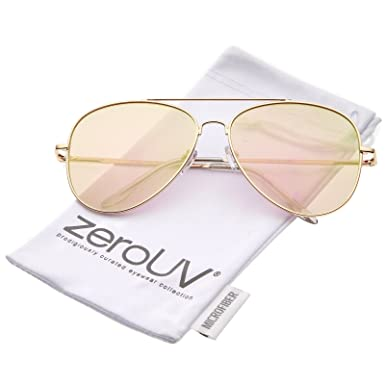 004cf8ad8ef8 zeroUV - Large Metal Frame Colored Mirror Flat Lens Aviator Sunglasses 60mm  (Rose-Gold Pink Mirror)  Amazon.co.uk  Clothing