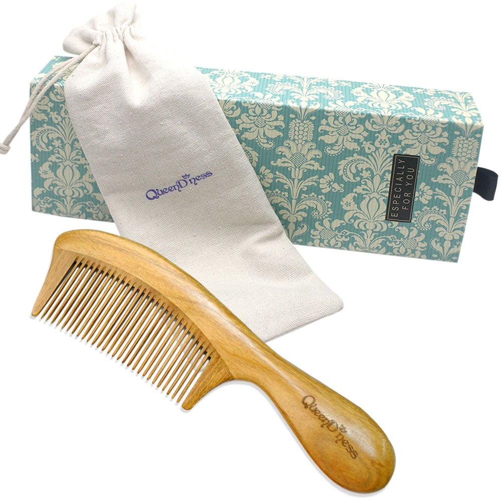 Wood Hair Comb -Natural Wooden Combs for Women, Men and Kids -NO SNAGS, NO TANGLE, NO STATIC -100% Handmade Green Sandalwood Comb (WD-F04)
