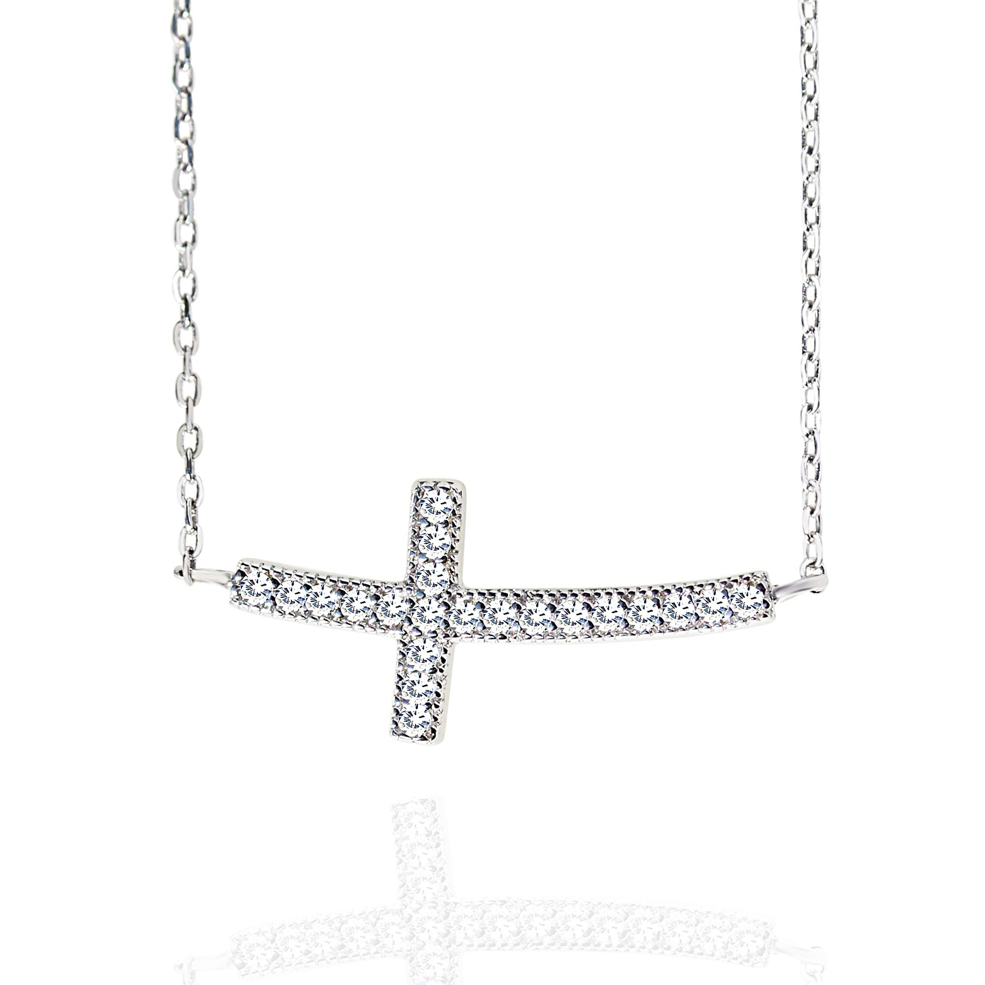 Spoil Cupid Rhodium-Plated Sterling Silver Cubic Zirconia Curved Sideways Cross Chain Necklace,18\