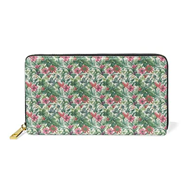 be0178afc5d7 Tropical Flower And Cute FruitLong zippered leather women's wallet ...