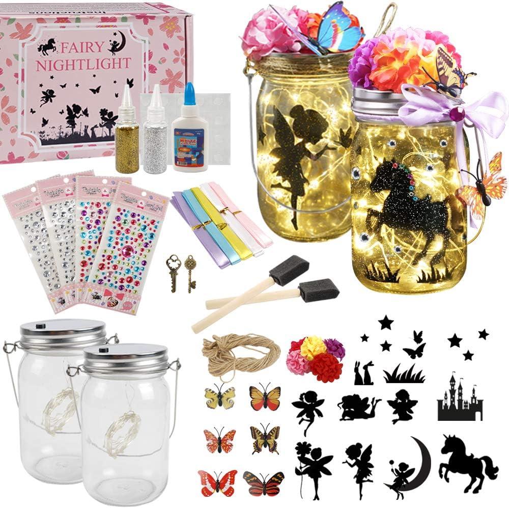 Fairy Lantern Craft Kit for Kids / Night Light / Crafts - Children Toy Set Kits - DIY Make Your Own Fairy Lantern Jar (Fairy Lantern 2 Pack)