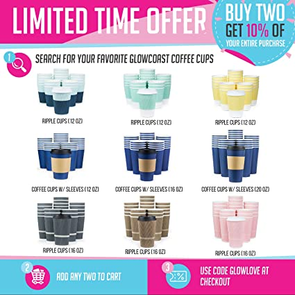Glowcoast Disposable Coffee Cups With Lids 20 oz To Go