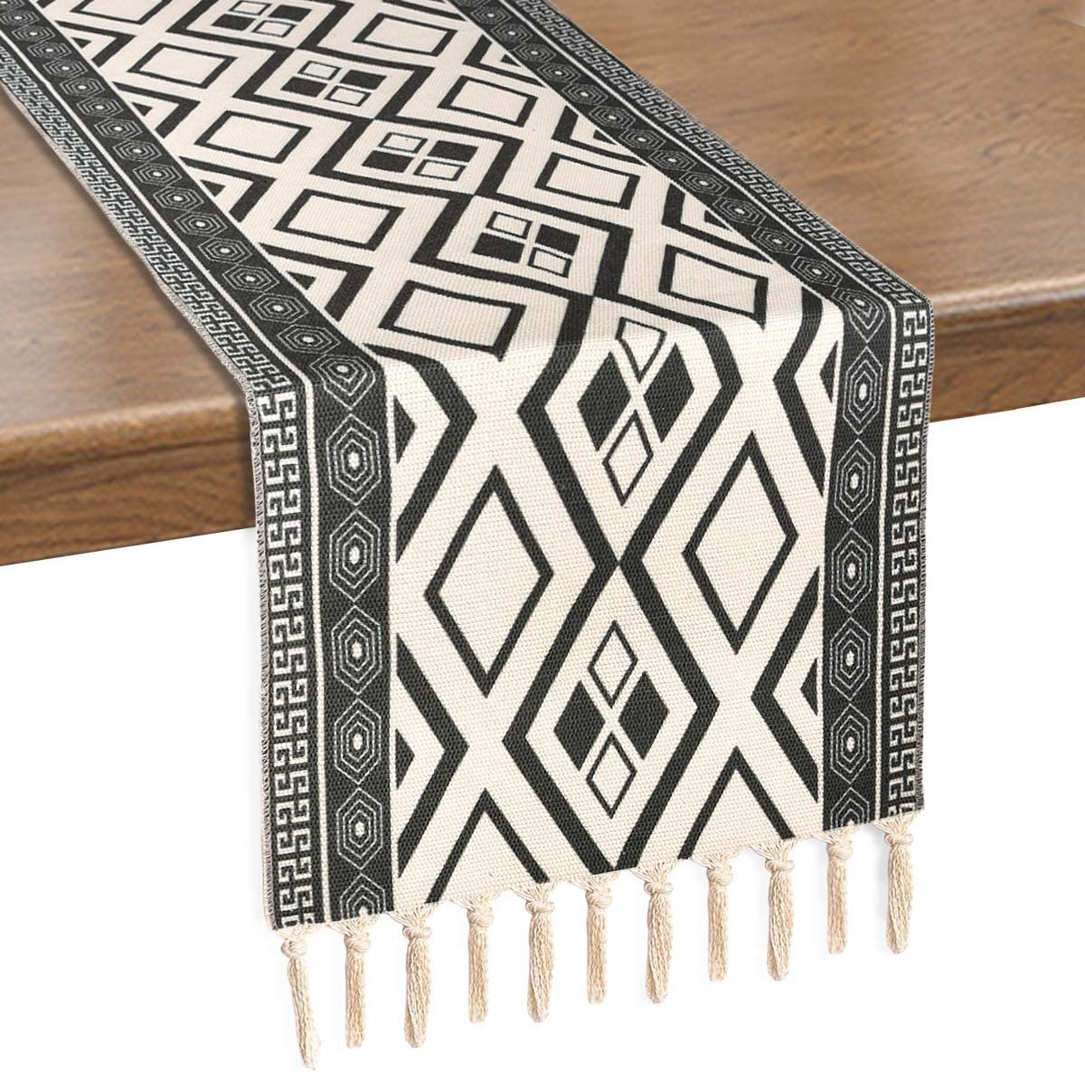 Alishomtll Boho Table Runners with Tassels Rustic Bohemian Woven Table Runner for Summer, Spring Holiday, Catering Events, Dinner Parties, Wedding, Indoor and Outdoor Parties, 14
