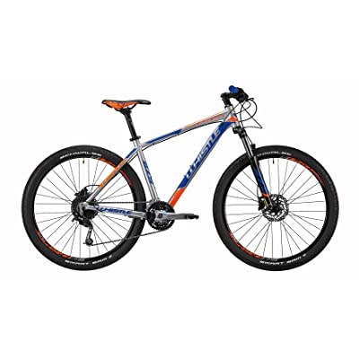 "'Mountain Bike 27.5 ""Front/Hardtail Top Load Whistle Miwok 1831, 27 vitesse Gris Ultralight/bleu/orange fluo taille s 16 (155 – 170 cm)"