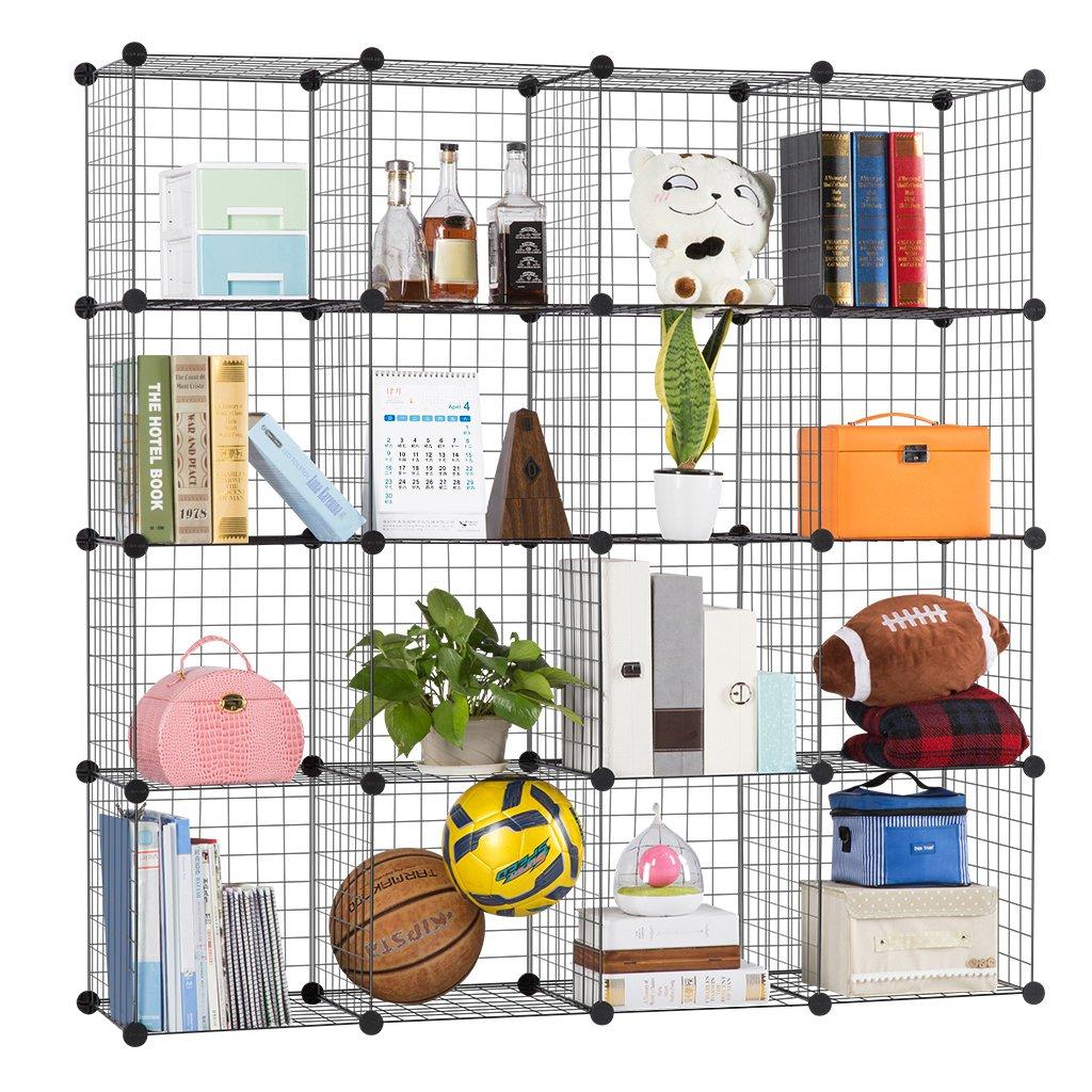LANGRIA Metal Wire Storage Cubes, Modular Shelving Grids, DIY Closet ...