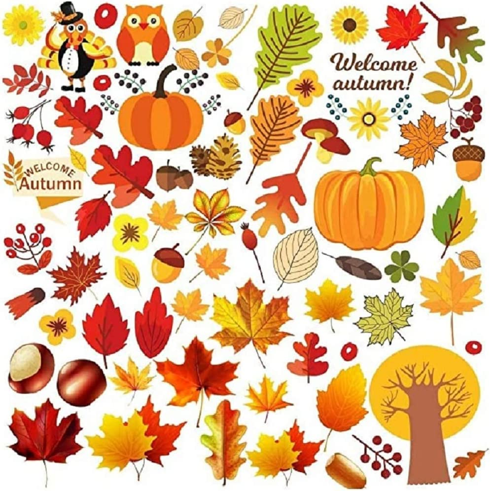 Thanksgiving Window Clings Fall Window Stickers Decals Featuring Turkey Fall Maple Leaves Pumpkin Acorn Cornucopia Indian Corn for Autumn Harvest Festival Seasonal Decorations