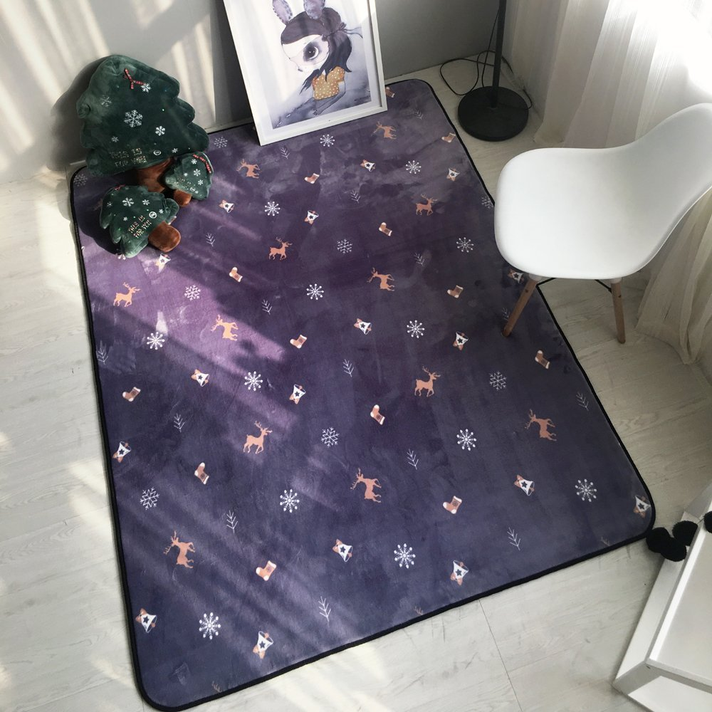 Snow-style living room coffee table bedroom bedside children's non-slip carpet mats ( Size : 80185cm )