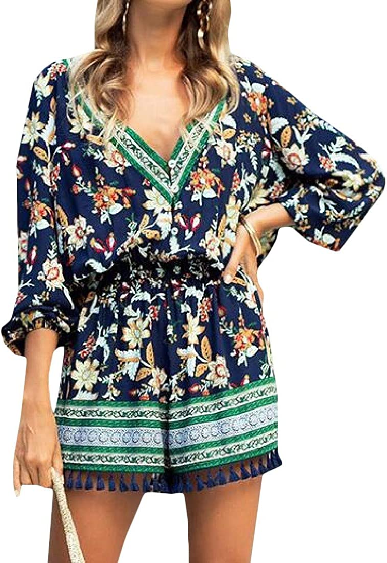 Pandapang Womens Fashion Playsuit Flower 3//4 Sleeve Tassel V-Neck Short Jumpsuits Rompers