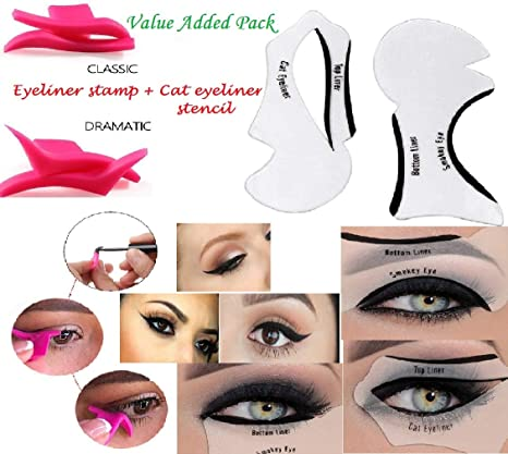 SBE Professional Cat Eye Winged Eyeliner Stamp 10pcs Stencil Perfect For