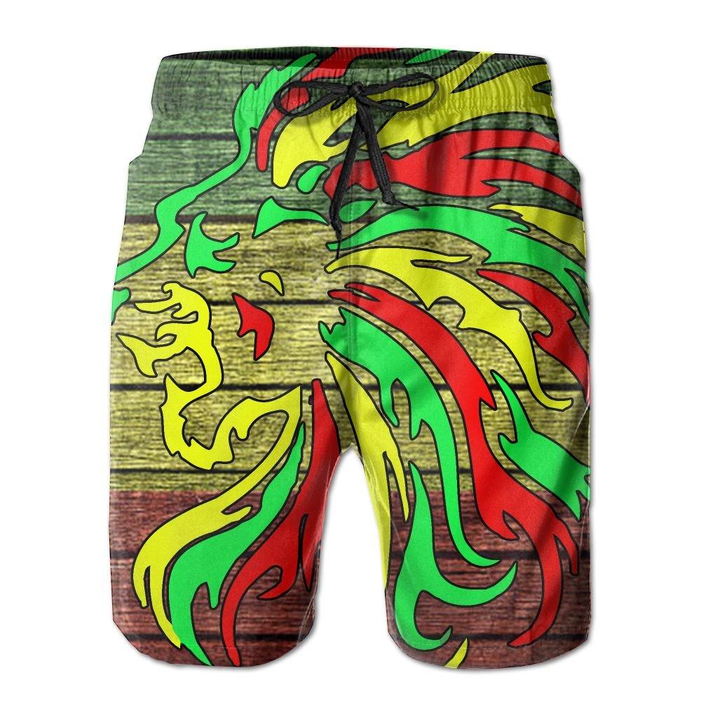 Rastafari Rasta Lion Reggae Men's Basic Boardshorts L With Pocket by OIYP