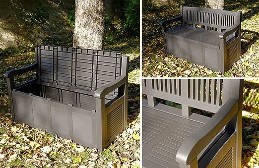 Banco, baúl de jardín de resina de polipropileno, con aspecto de madera: Amazon.es: Jardín