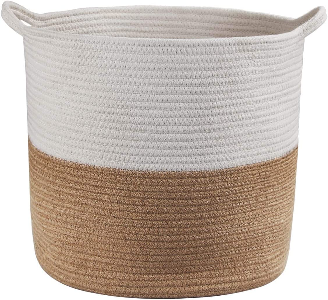 """WELTRXE Large Storage Woven Basket, Decorative Nursery Storage Basket, 17"""" D x 14.5"""" H Cotton Rope Basket for Laundry, Blankets, Towel, Toys, Baby Supplies in Living Room"""