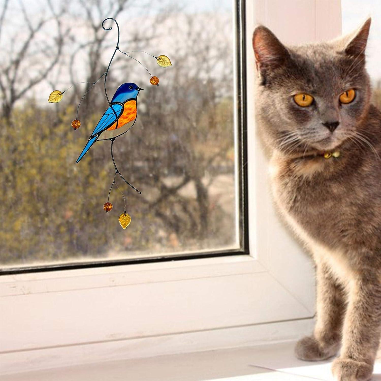 adesivi per uccelli in vetro colorato con colibr/ì sbirciando Simpatici pannelli in vetro colorato per decorazioni 7 pezzi di adesivi per appendere le finestre in vetro colorato per uccelli