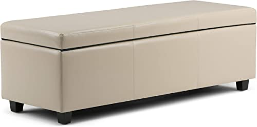 Simpli Home AXCF18-CR Avalon 48 inch Wide Contemporary Rectangle Storage Ottoman Bench in Satin Cream Faux Leather Renewed