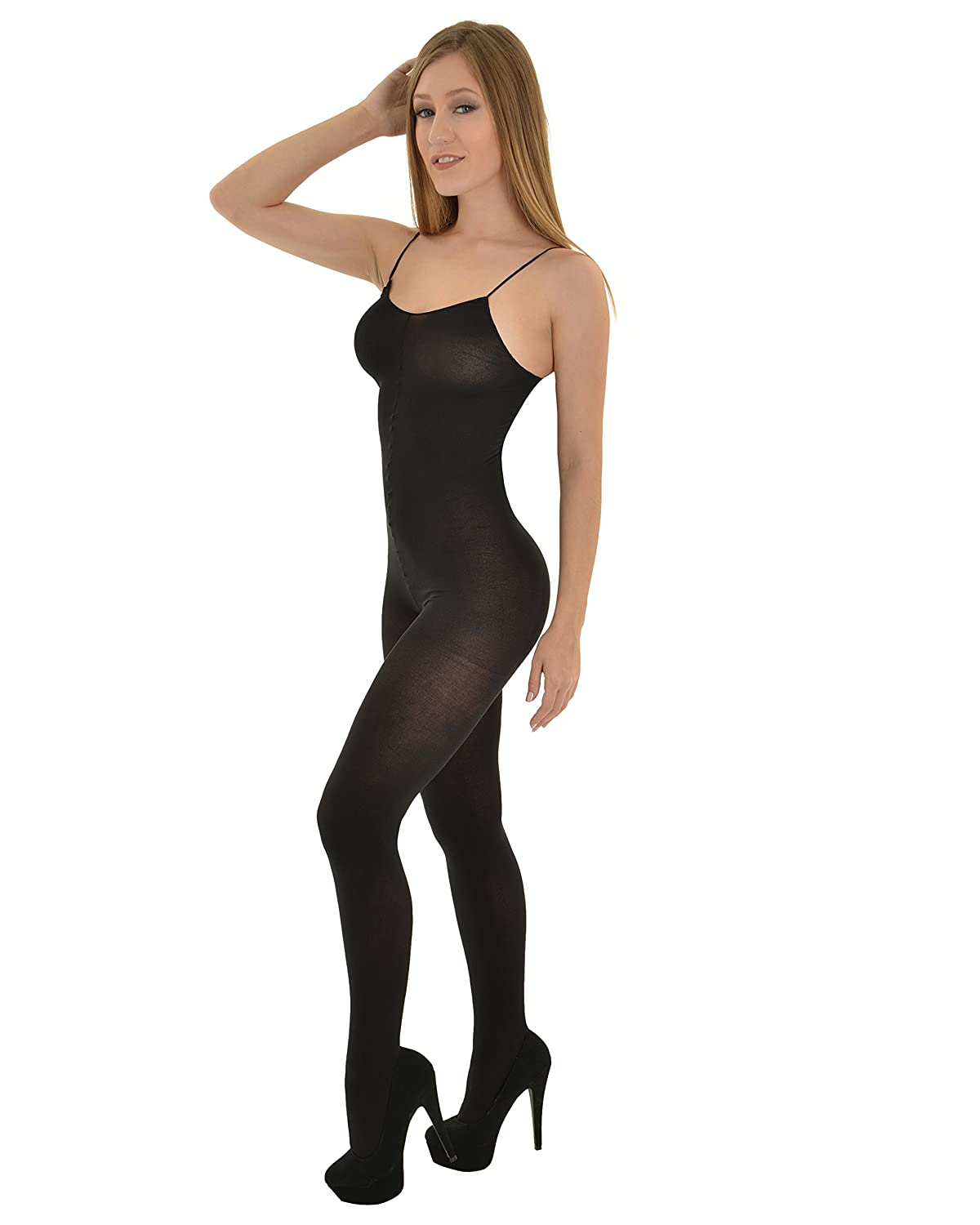 3e09c98532e Amazon.com  Womens One Piece Bodysuit Crotchless Body Stocking Opaque Nude  White or Black Color  Black  Adult Exotic Lingerie Bodystockings  Clothing