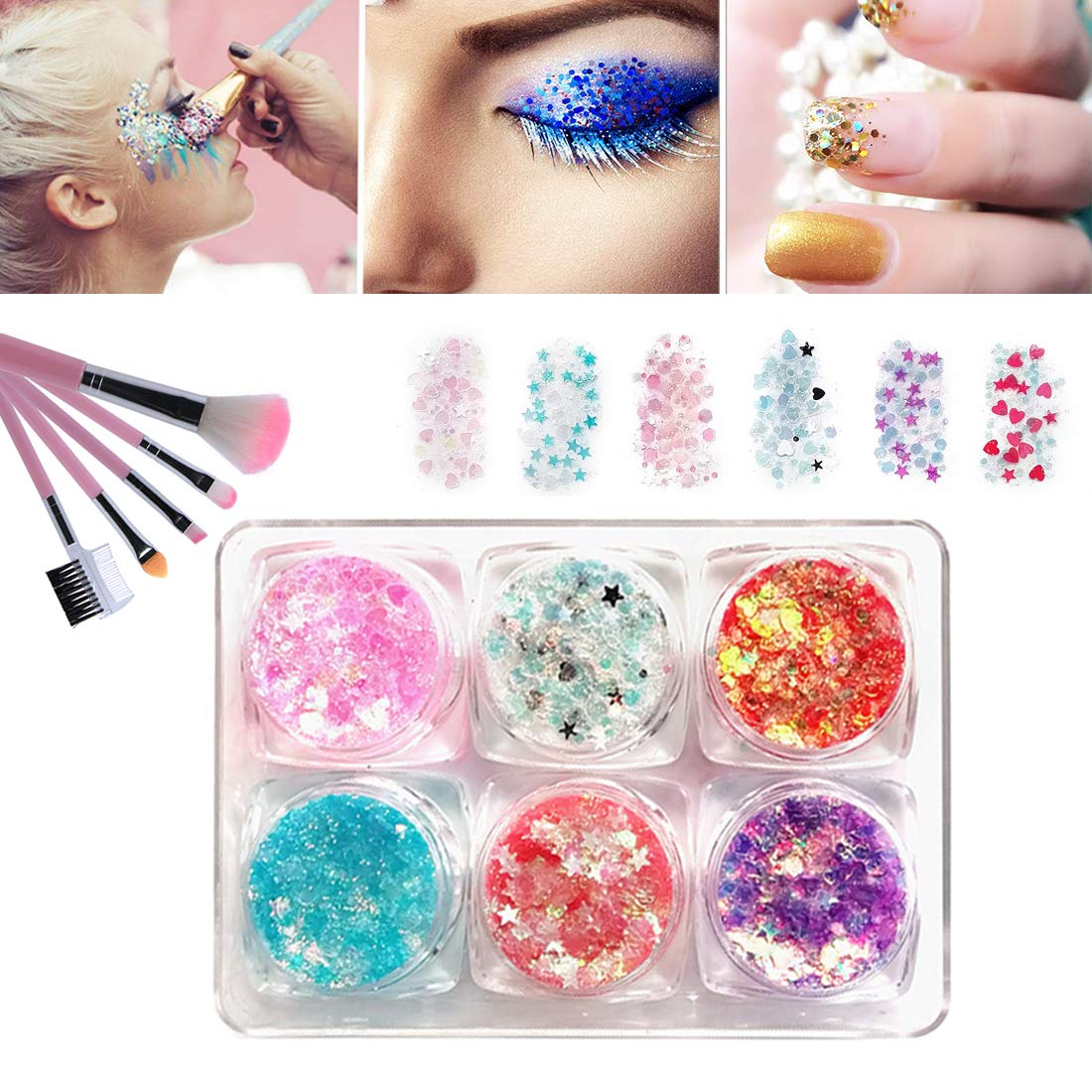 Body Glitter Tattoo Kits Gel Nail Polish for Kids Girls,Face Body Painting Glitter Self-adhesive Glitter Gel with 5 Brushes, Cosmetic Chunky Glitter Sequins for Face Nail Body and Hair