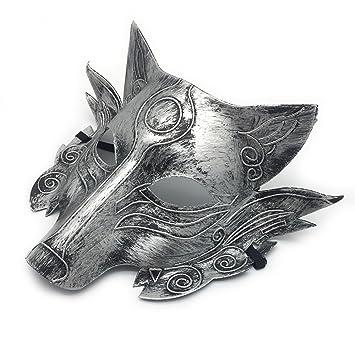 PromMask Mascara Facial Careta Protector de Cara dominó Frente Falso Halloween Maquillaje Danza Cabeza de Lobo