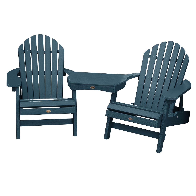 Amazon com highwood 2 hamilton folding reclining adirondack chairs with 1 adirondack tete a tete connecting table nantucket blue garden outdoor