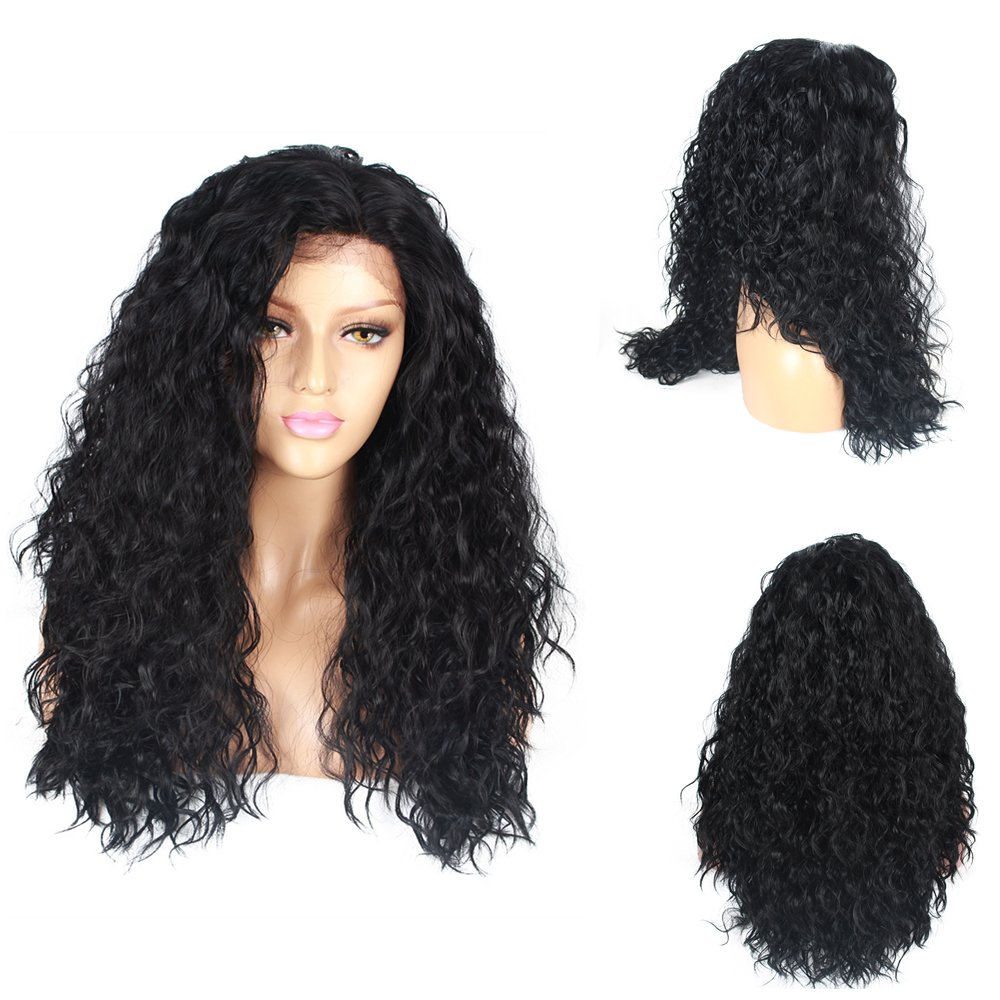 Life Diaries 250%Density Lace Front Synthetic Wig Curly Nature Body Wave 10%Human Hair+90%Heat Resistant Fiber Wig Nature Color With Baby Hair For Women(24, black)