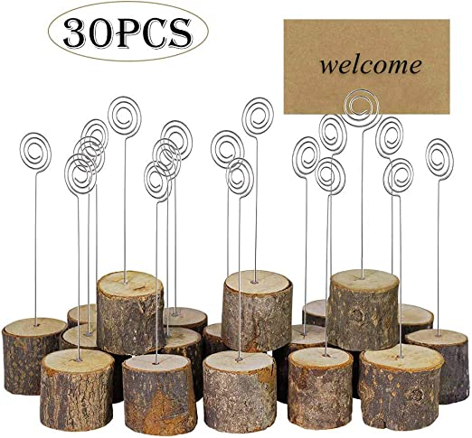 30-Pack Wooden Base Wire Photo Clip Wedding Table Place Card Holder Decor