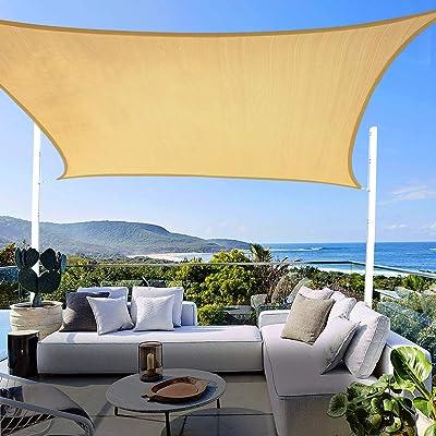 8' x 12' Sun Shade Sail UV Block, Sun Shades for Patios Rectangle Shade Sail Canopy Awning for Outdoor Facility, Sun Sail Shades Square 185GSM Sun Shade Canopy for Patio Garden Backyard Lawn : Garden & Outdoor
