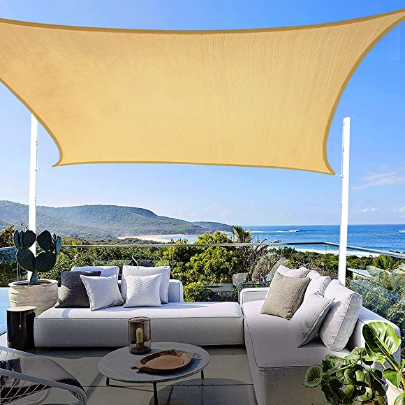10 x 13 Sun Shade Sail UV Block,Sun Shades for Patios Rectangle Shade Sail Canopy Awning for Outdoor Facility,Sun Sail Shades Square 185GSM Sun Shade Canopy for Patio Garden Backyard Lawn
