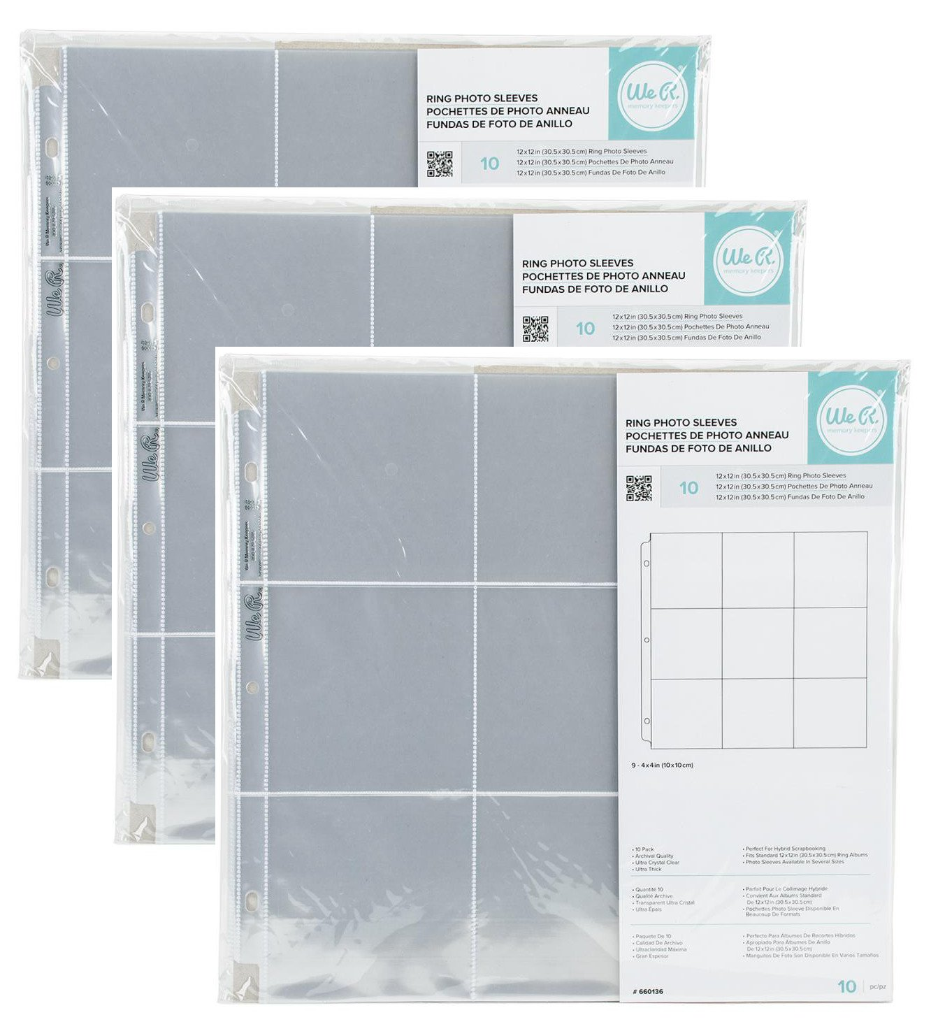 3-PACK - We R Memory Keepers 12 x 12 inch (9 - 4 x 4 inch pockets) 3-Ring Album Photo Sleeve Protectors , 10 Pk