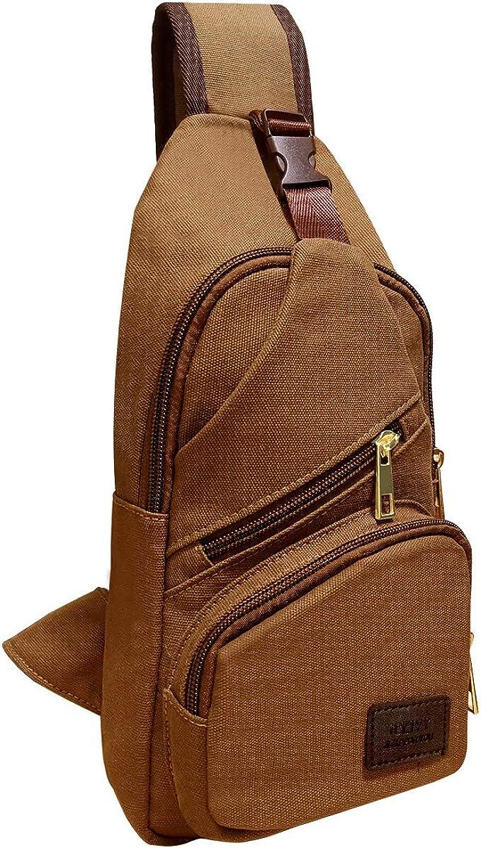 ICEIVY Bolso en el pecho, bolso de hombro, bolso bandolera para hombre, bolso de mensajero, bolsa de senderismo, bolsa de día cruzada para viajes, ...